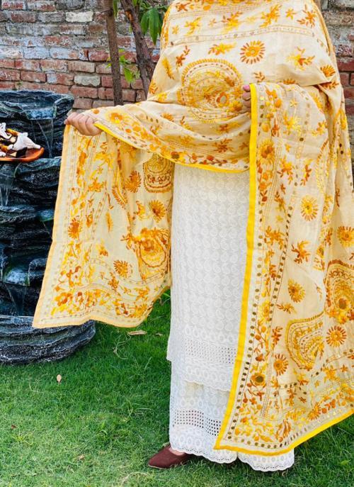 Party Wear Yellow Chikan Work Cotton Kurti With Dupatta