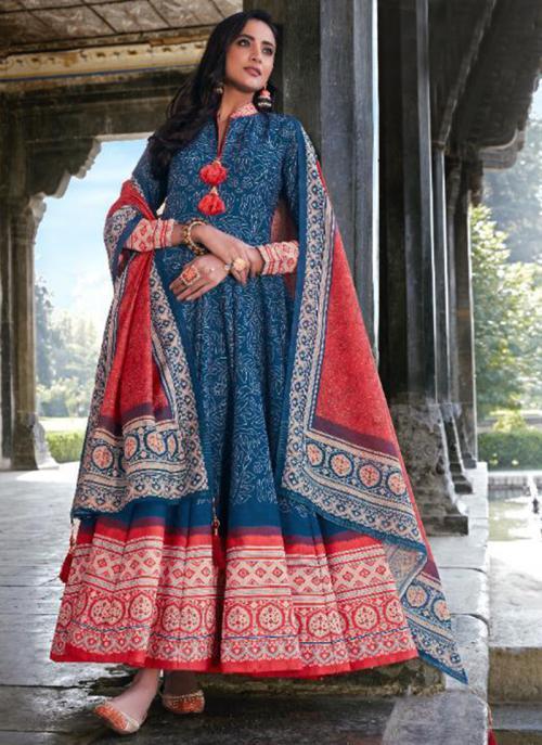 Wedding Wear Blue Digital Printed Killer Silk Gown With Dupatta