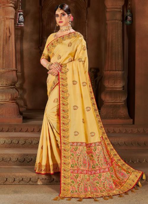 Wedding Wear Beige Weaving Silk Saree