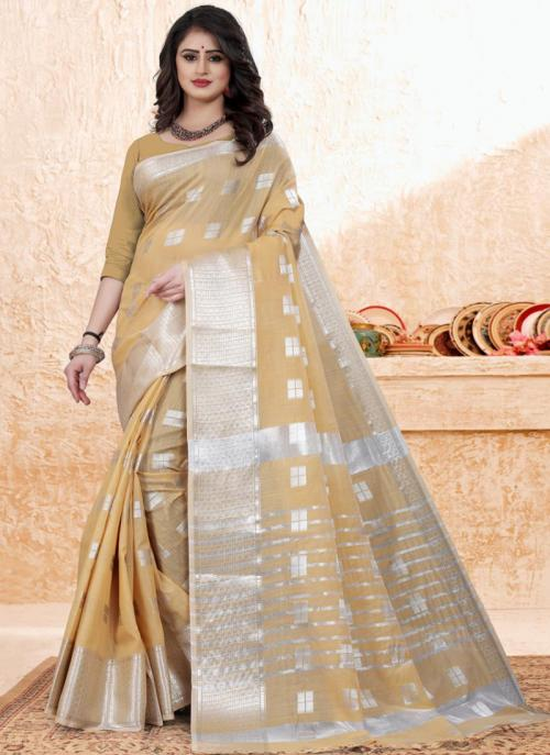 Casual Wear Beige Zari Work Cotton Saree