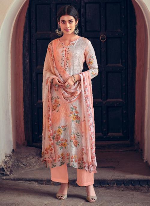 Festival Wear Peach Digital Printed Muslin Palazzo Suit