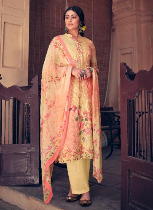 Festival Wear Pink Digital Printed Muslin Palazzo Suit