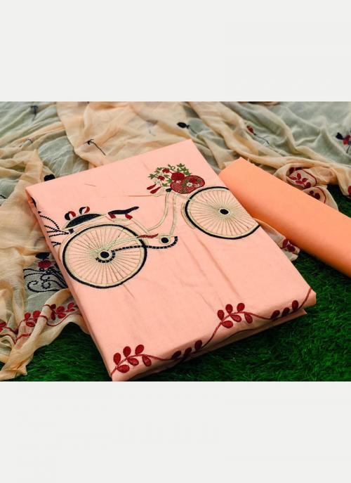 Regular Wear Peach Printed Work PC Cotton Dress Material
