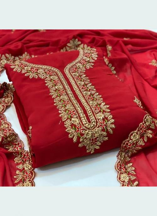 Festival Wear Red Embroidery Work Georgette Dress Material