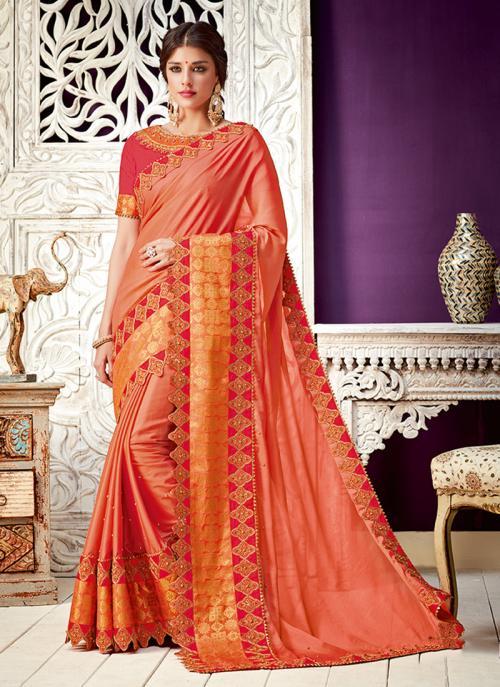 Wedding Wear Orange Border Work Georgette Saree
