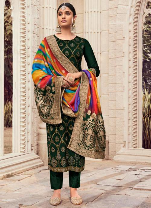 Traditional Wear Green Swarovski Work Pure Silk Straight Suit