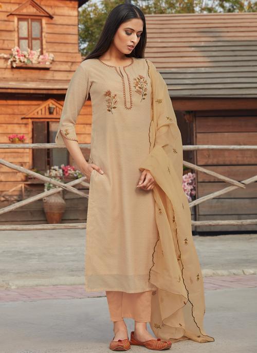 Festival Wear Beige Embroidery Work Chanderi Silk Readymade Salwar Suit