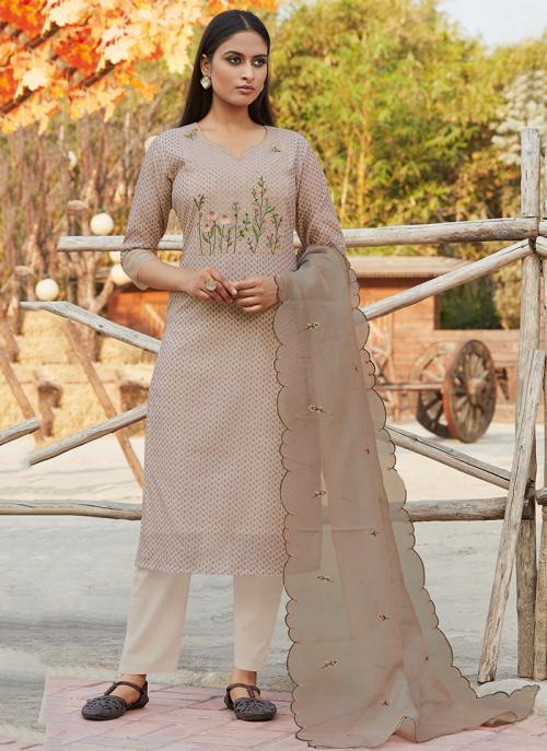 Festival Wear Brown Embroidery Work Chanderi Silk Readymade Salwar Suit