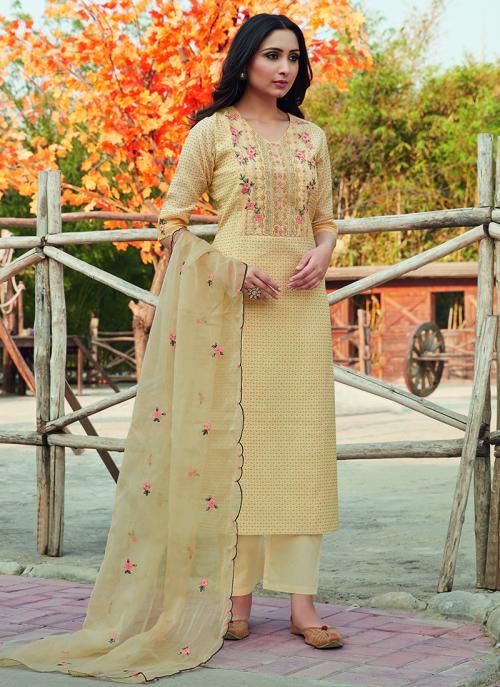 Festival Wear Cream Embroidery Work Chanderi Silk Readymade Salwar Suit