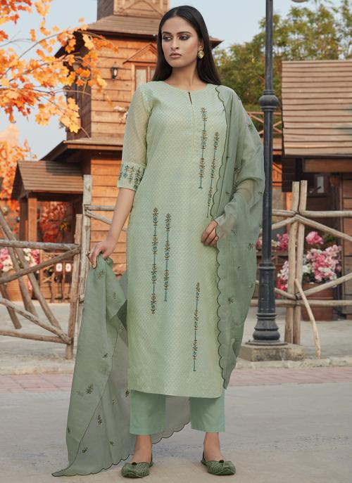 Festival Wear Light Green Embroidery Work Chanderi Silk Readymade Salwar Suit