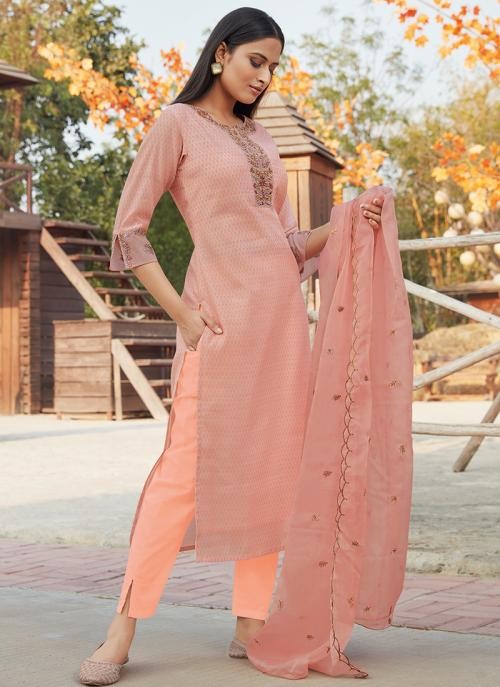 Festival Wear Light Pink Embroidery Work Chanderi Silk Readymade Salwar Suit