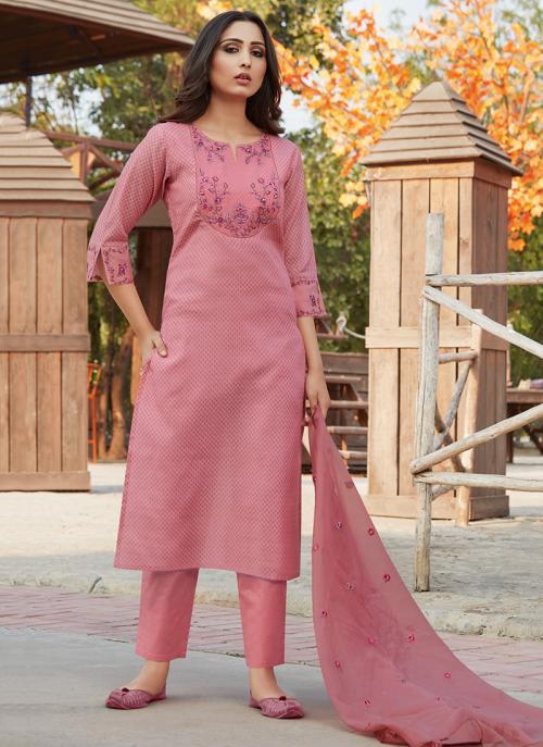 Festival Wear Pink Embroidery Work Chanderi Silk Readymade Salwar Suit
