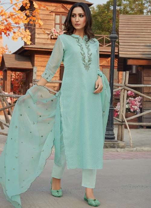 Festival Wear Teal Blue Embroidery Work Chanderi Silk Readymade Salwar Suit