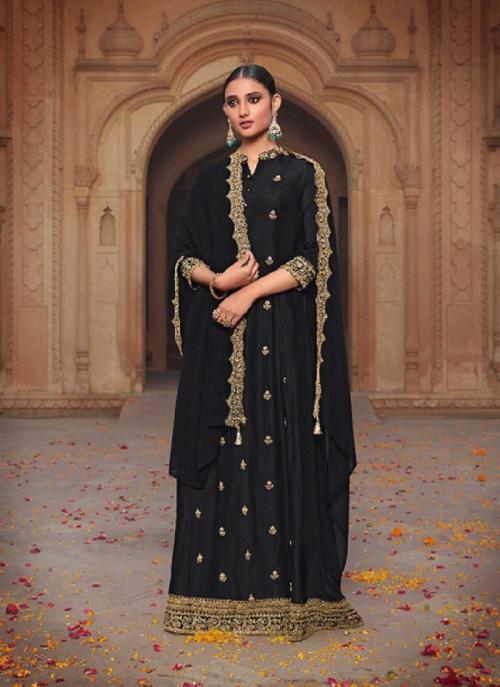 Party Wear Black Khatli Work Russian Silk Gown With Dupatta