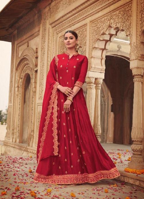 Party Wear Dark Pink Khatli Work Russian Silk Gown With Dupatta