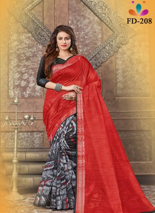Festival Wear Red Digital Printed Linen Saree