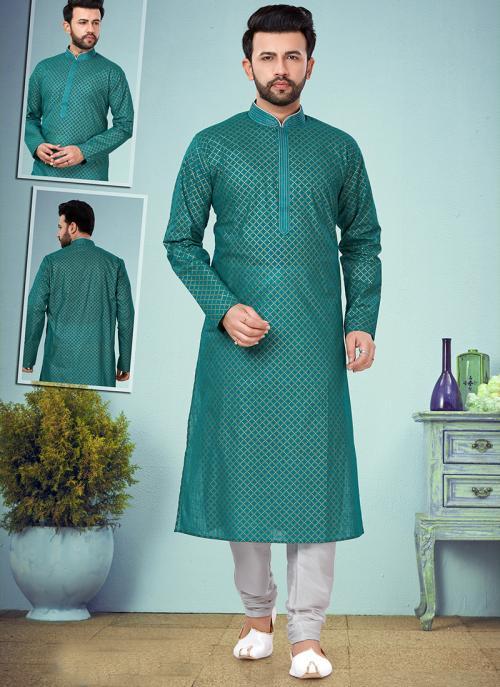 Wedding Wear Light Rama Embroidery Work Printed Cotton Silk Kurta Pajama