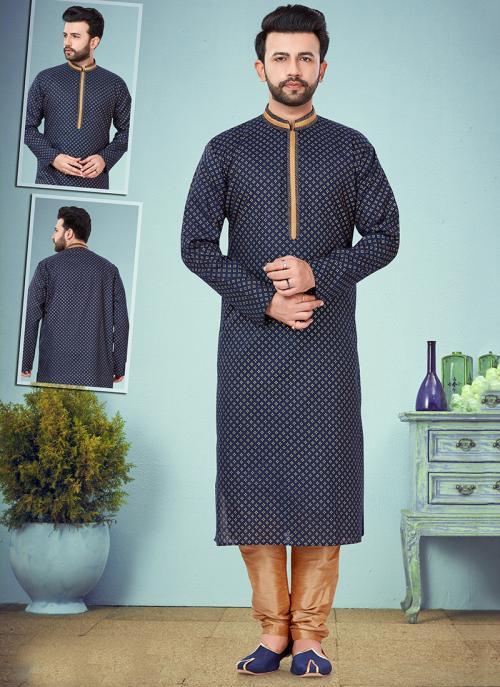 Wedding Wear Navy Blue Embroidery Work Printed Cotton Silk Kurta Pajama