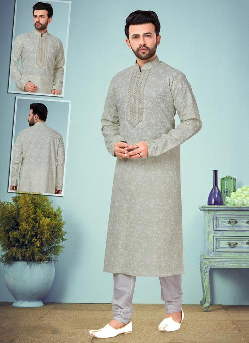 Wedding Wear Pista Embroidery Work Printed Cotton Silk Kurta Pajama