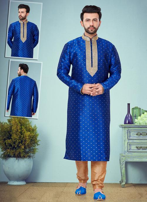 Wedding Wear Royal Blue Embroidery Work Chanderi Jaquard Kurta Pajama