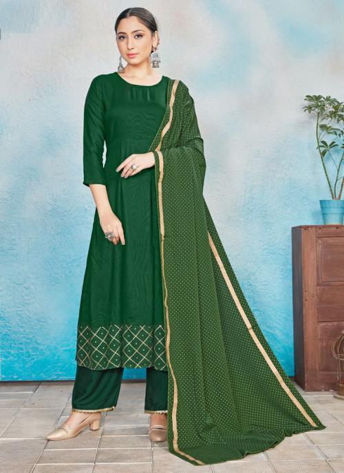 Festival Wear Green Foil Printed Work Rayon Readymade Anarkali Suit