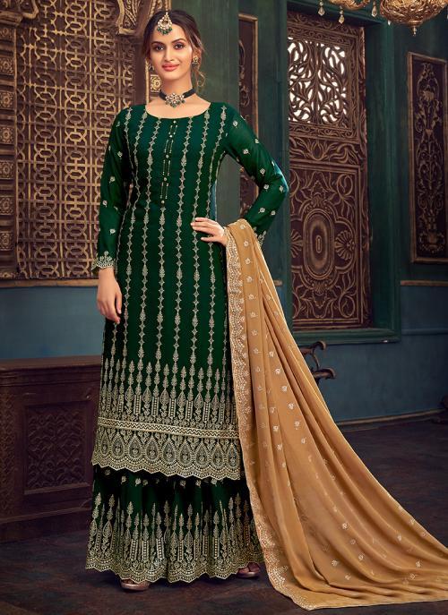 Wedding Wear Bottle Green Hand Work Pure Georgette Sharara Suit