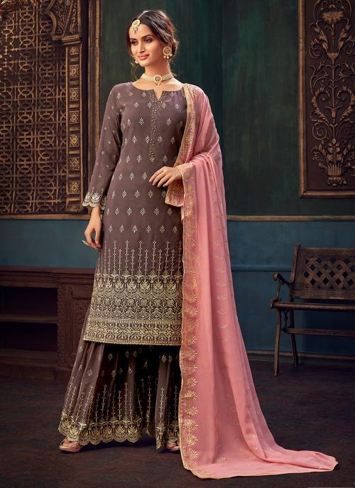Wedding Wear Brown Hand Work Pure Georgette Sharara Suit