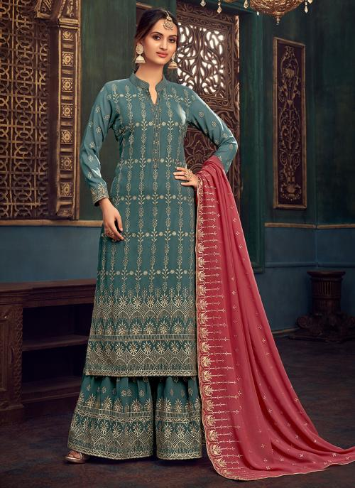 Wedding Wear Sky Blue Hand Work Pure Georgette Sharara Suit