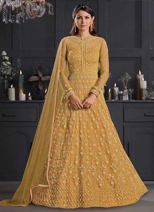 Reception Wear Golden Embroidery Work Net Anarkali Suit