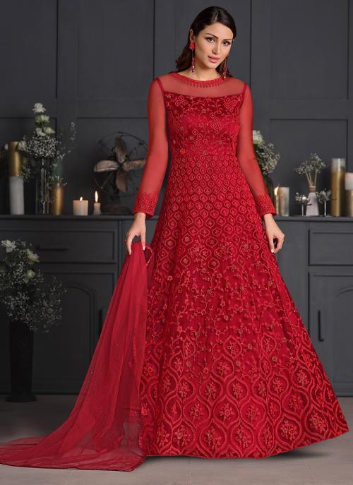 Reception Wear Rani Embroidery Work Net Anarkali Suit