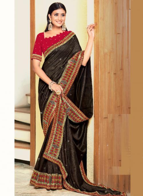 Wedding Wear Black Embroidery Work Georgette Satin Saree