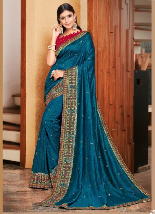 Wedding Wear Blue Embroidery Work Georgette Satin Saree