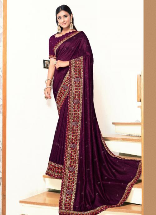 Wedding Wear Wine Embroidery Work Georgette Satin Saree