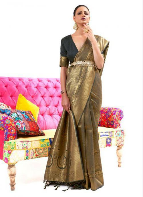 Festival Wear Black Weaving Work Silk Saree