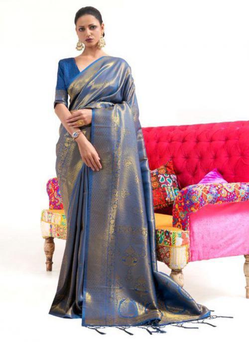 Festival Wear Blue Weaving Work Silk Saree