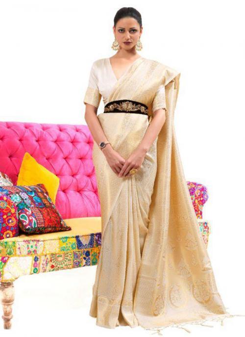 Festival Wear Cream Weaving Work Silk Saree