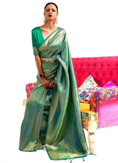 Festival Wear Green Weaving Work Silk Saree