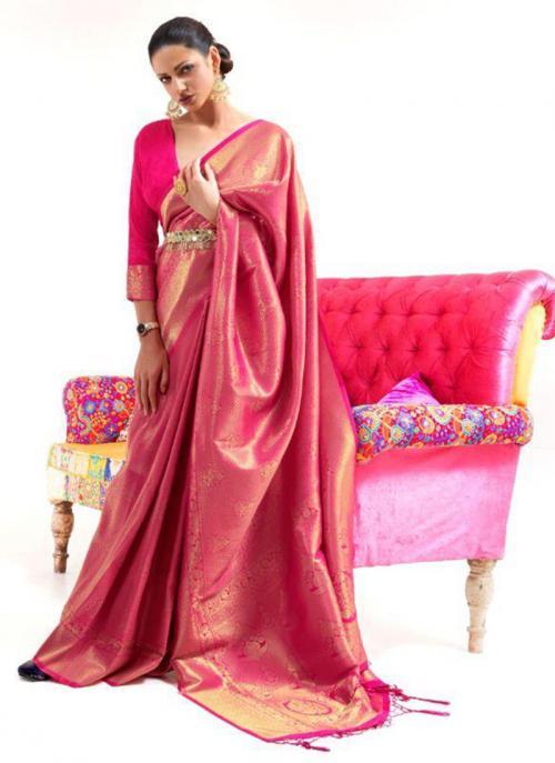 Festival Wear Pink Weaving Work Silk Saree