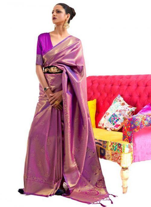 Festival Wear Purple Weaving Work Silk Saree