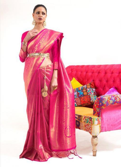 Festival Wear Rani Weaving Work Silk Saree