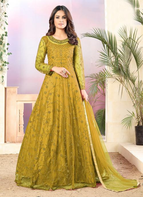 Party Wear Olive Green Sequins Work Net Anarkali Suit
