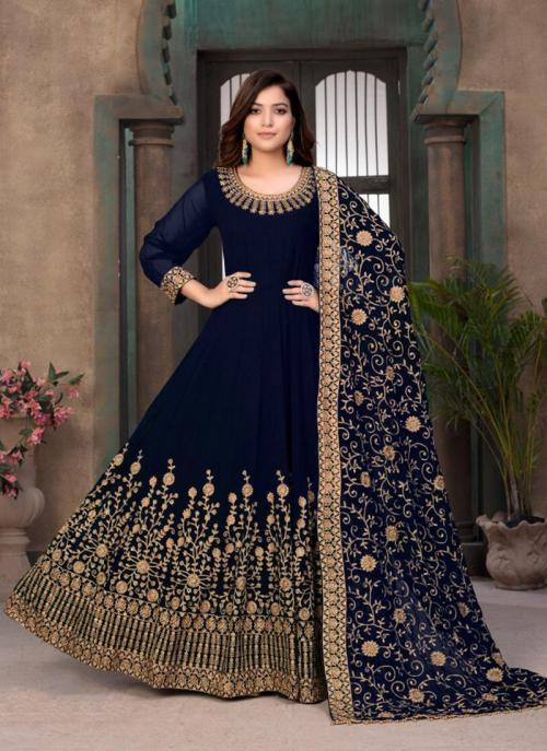 Party Wear Navy Blue Embroidery Work Faux Georgette Anarkali Suit