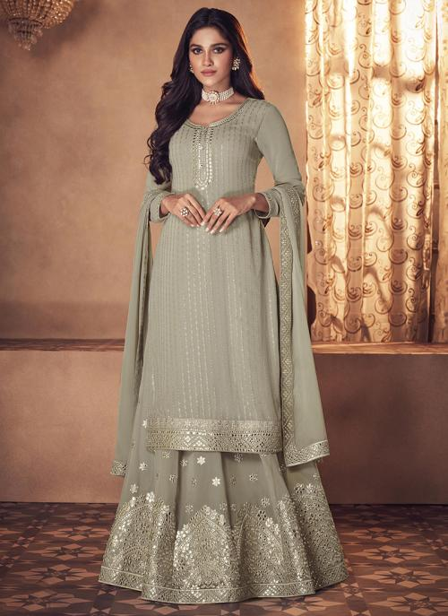 Wedding Wear Grey Embroidery Work Real Georgette Palazzo Suit