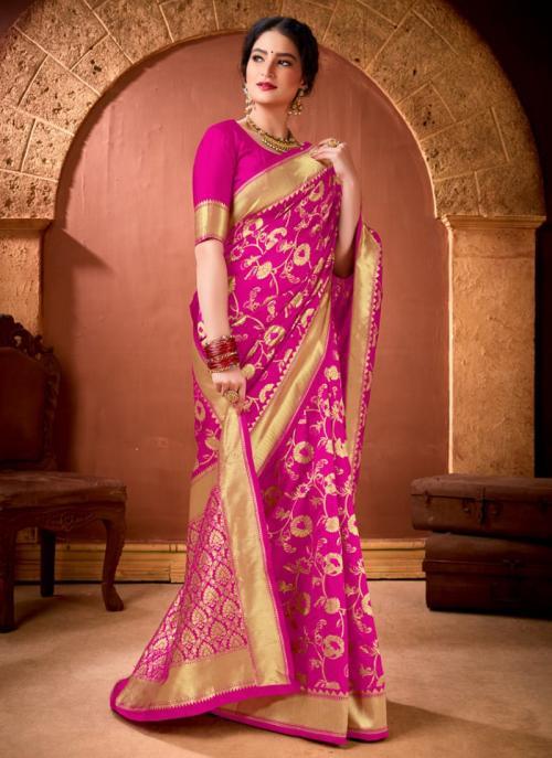 Festival Wear Rani Weaving Work Banarasi Silk Saree