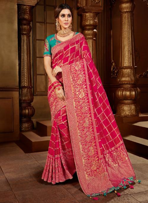 Reception Wear Pink Weaving Work Viscose Silk Saree