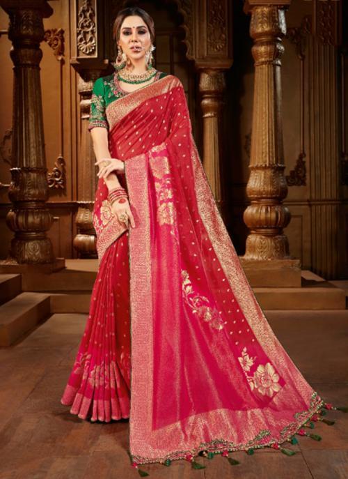 Reception Wear Rani Weaving Work Viscose Silk Saree