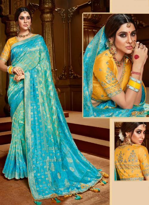 Reception Wear Sky Blue Weaving Work Viscose Silk Saree