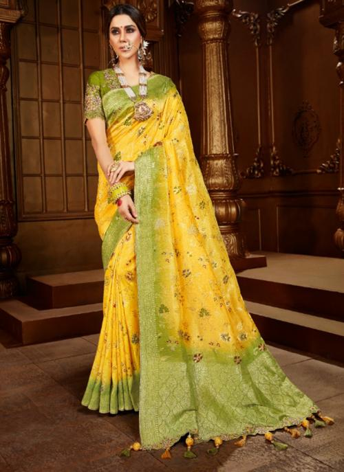 Reception Wear Yellow Weaving Work Viscose Silk Saree