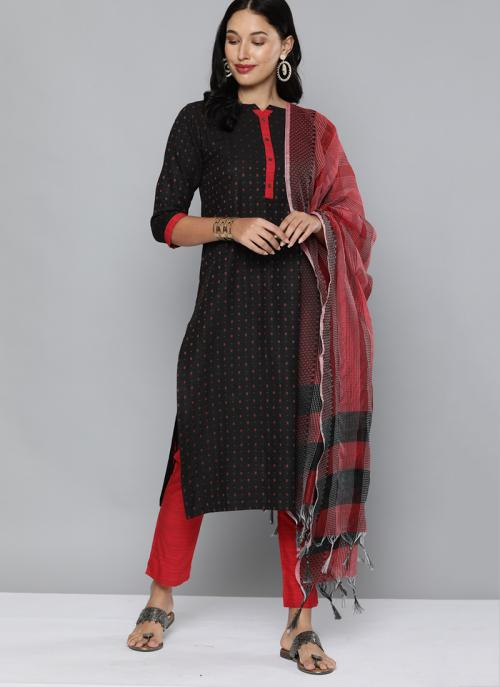 Daily Wear Black Red Wooven Work Cotton Salwar Suit