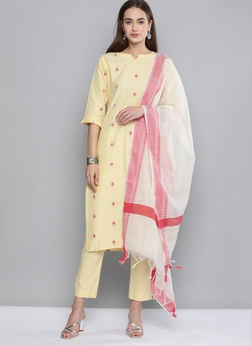 Daily Wear Cream Wooven Work Cotton Salwar Suit